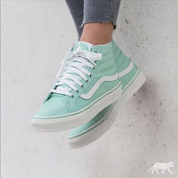 NWB mint green vans high top sneakers NWT